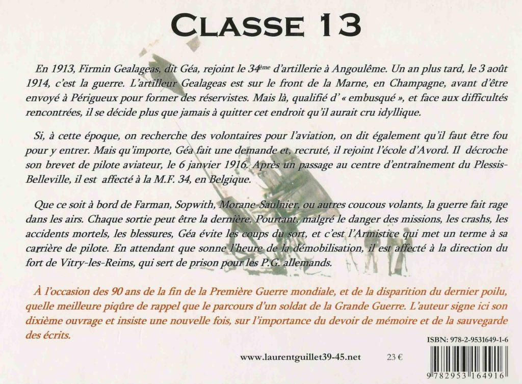 Quatrième de couverture Classe 13