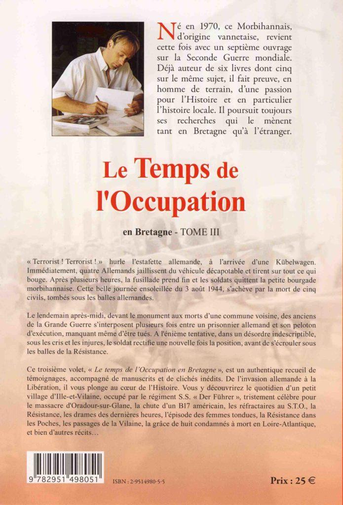 Quatrième de couverture Le temps de l'Occupation en Bretagne (Tome 3)
